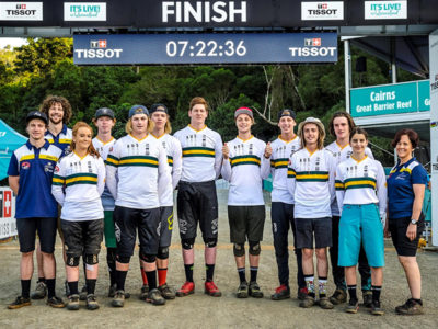 The Australian Junior Downhill Mountain Bike Team at the finish line in Cairns