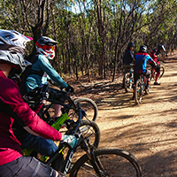 A group of riders ready to ride a downhill trail in a private coaching session